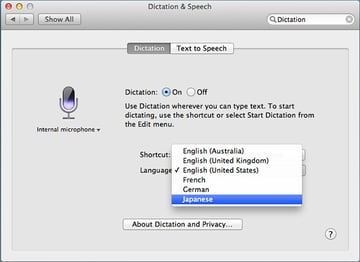 Choosing an input language for Dictation
