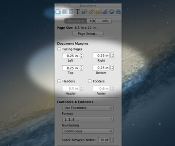 Use The Inspector Panel To Make Changes To The Page Layout Such As The Margins and Headder/Footer