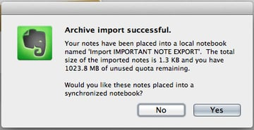 Once your notebook is imported, choose to sync it or use it as a 'local' notebook.