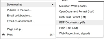I created my document in Google Drive, but you can use and word processing application. Export or save as a PDF.