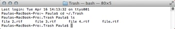 List all files in Trash.