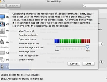 Calibrating Speakable Items will improve accuracy when issuing commands