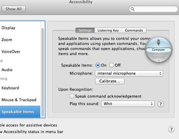 You can choose to either press a key to have your Mac listen for commands or by using a keyword, such as Computer