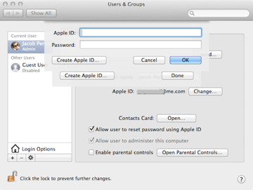 Adding an Apple ID to an account for easier password resetting in the future.