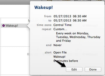 Edit your new event to customize your alarm