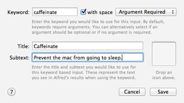 Setting up your caffeinate workflow keyword