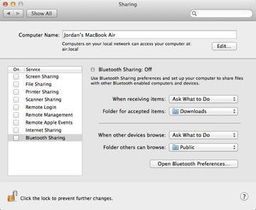 Even though we've enabled Bluetooth, Bluetooth File Sharing must be turned on