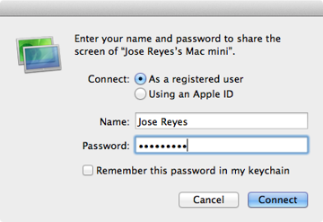 Logging into the Mac mini G4 from an iMac