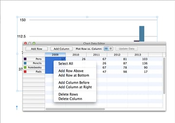 Deleting a column within the data editor.