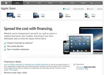 Apple seasonal 0% finance offer