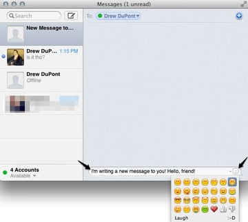 Type a message at the bottom, and even add smileys.