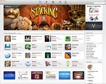 The Featured page of the Mac App Store.