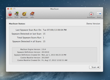 As you can see, MacScan is basic and functional, giving you quick results.