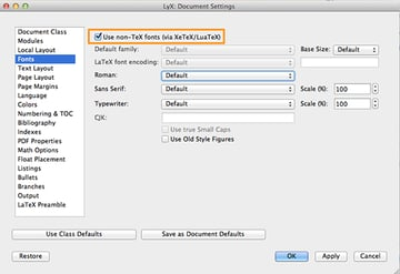 XeTeX allows you to use all the fonts that are installed on your Mac within LyX.