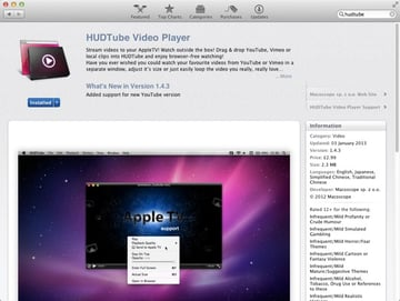 HudTube is available only through the Mac App Store so there isnt a free trial to try before you buy