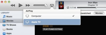 The AirPlay menu displays any AirPlay-enabled devices you will have on your network