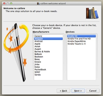 Select your e-book reader from the list and then press Next to continue.