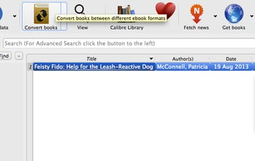 Highlight the e-book once again and press the Convert Books icon.