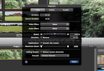 The inspector is great for fine tuning your clips.