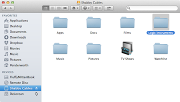The new folder I created on my external drive for Logic.