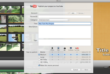 This display makes it easy to upload videos to YouTube.