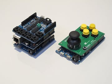 Arduino Shields stacked on top of one another
