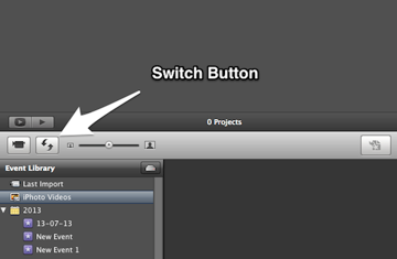The switch button is located on the left hand side of the middle bar.