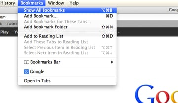Click Bookmarks and then Show All Bookmarks to access your entire bookmark collection.