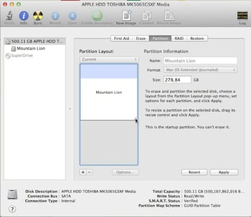 Resizing the existing partition