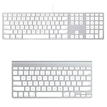 Apple offers two keyboards a wired keyboard with numeric keyboard or the more common wireless Bluetooth compact keyboard