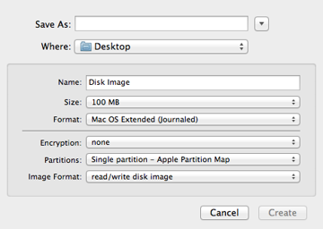 When creating a disk image, you'll be given the option to choose the size, format, partition type, and whether or not you want to encrypt the image.