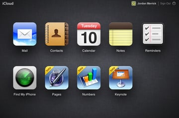 iCloud's main menu is very similar to Launchpad in Mac OS X or the iOS home screen.