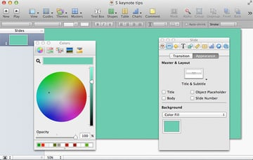 A solid custom-color background will serve as a great Theme for your Keynote