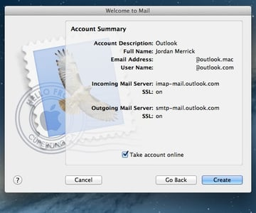 Apple Mail will confirm all the settings I've entered, though I do still need to amend the incorrect email address.