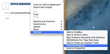 Our new Service will appear under the contextual menu when we right-click on any highlighted text.