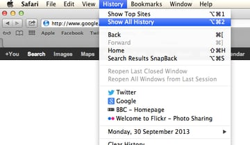 Click History and then Show All History.
