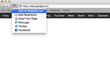 Click on the Share icon, then select Add to Reading List.