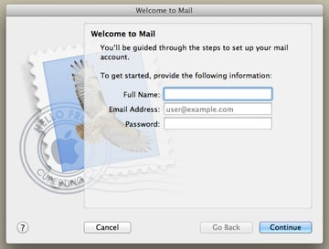 Enter your account information and then click Continue.