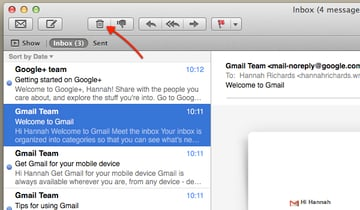Click the Trash icon to delete an email.