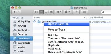 The Open in New Tab option easily allows you to create a new tab with the selected folder.