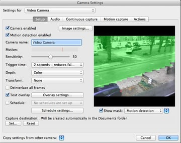 By painting over the area of the video preview we can select what we want the motion sensor to ignore