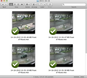 SecuritySpy records video in QuickTime movie format and stores them in an organised way