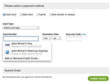 Autofill credit card information