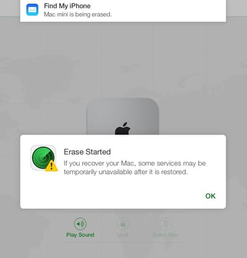 As soon as you confirm all of the above, iCloud will begin to remotely wipe your Mac.