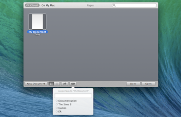 Adding tags to iCloud documents is very similar to Finder, but performed in the app's iCloud storage rather than in Finder.