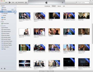 Downloaded television shows in iTunes