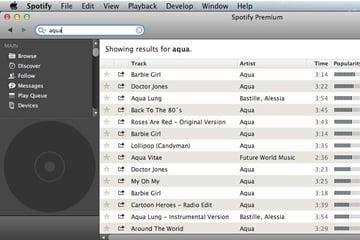 Browsing Aqua in Spotify