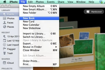 Creating a new book project in iPhoto