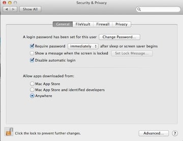 Setting the Allow Software to be Installed from to Anywhere
