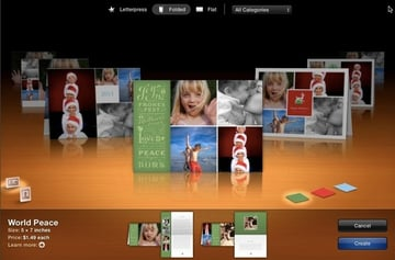 There are plenty of options in iPhoto, but choose from the Folded or Flat designs if you plan to print the card yourself.